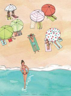 Kanako Kuno. On the beach